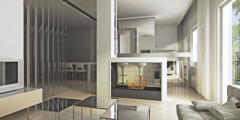 Enterijer salonskog stana Sonnback, Beograd (Studio Alfirević, 2014) - idejni projekat