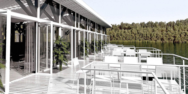Splav kafe-restoran Negativ, Beograd (Studio Alfirević, 2012) - idejno rešenje