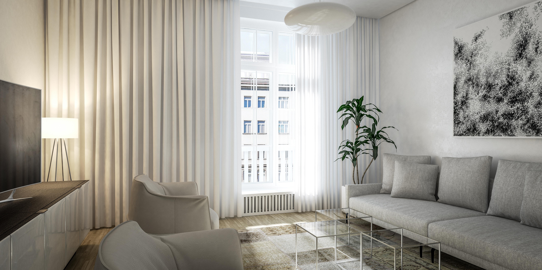 Enterijer salonskog stana GLC, Beograd (Studio Alfirević, 2018) - idejni projekat