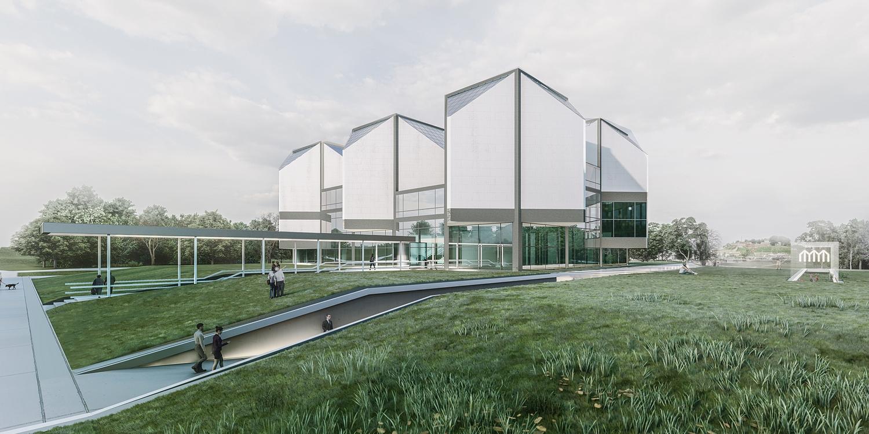 Paviljon Muzeja savremene umetnosti, Beograd (B.Mitrović, Đ.Alfirević, D.Međedović, U.Majstorović, S.Lakić, D.Grujović, 2021) - konkursno rešenje